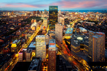 An Aerial Night View Of Boston City Center