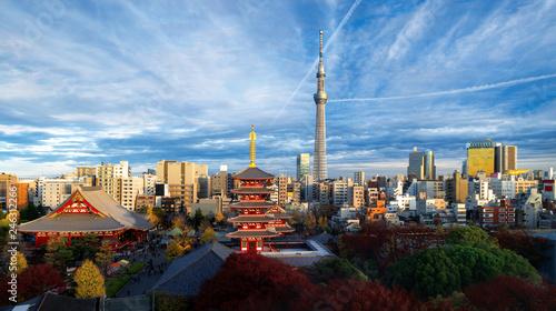 Foto auf Leinwand Tokio Top view of cityscape of Sensoji temple