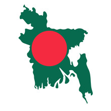 Map Of Bangladesh - Flag