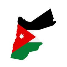Map Of Jordan - Flag