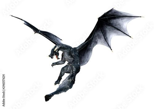 3D Rendering Fairy Tale Dragon on White Fototapet