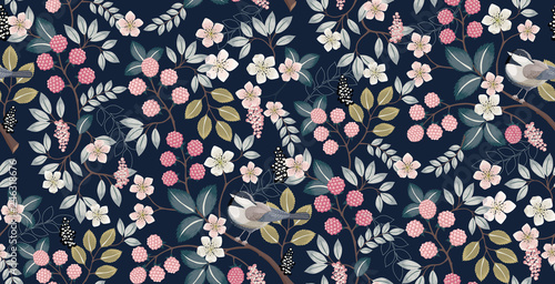 Photo  Vector illustration of a seamless floral pattern with cute birds in spring for Wedding, anniversary, birthday and party
