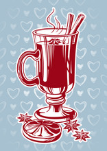 Glasses Of Spicy Mulled Wine Vector Image.