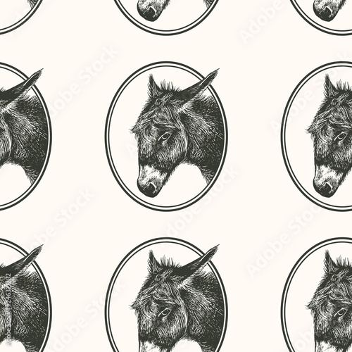 Photo Seamless pattern with farm animal. Donkey.