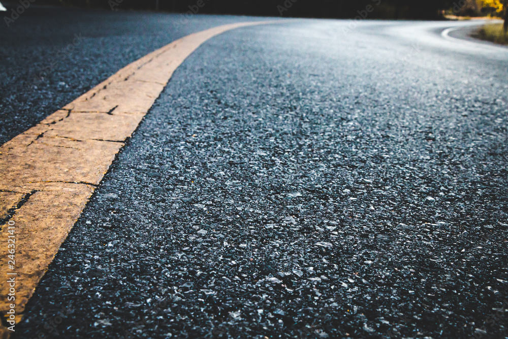Fototapeta Close up black asphalt road texture background.