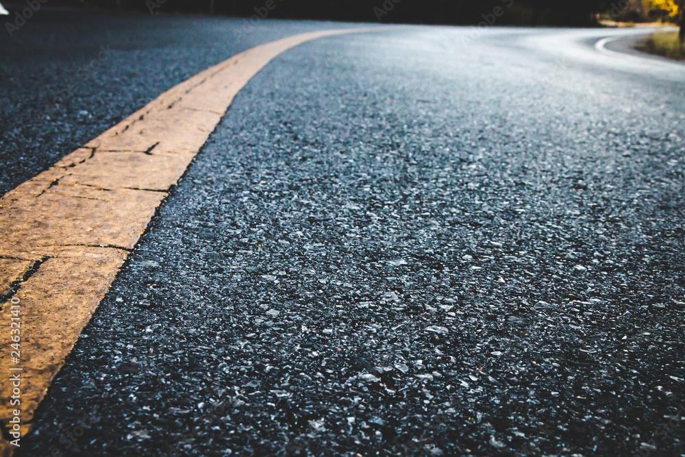 Fototapeta Close up black asphalt road texture background.