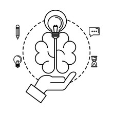 Hand Lifting Bulb Light And Brain With Business Icons