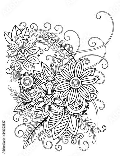 Floral Adult Coloring Page Black And White Doodle Flowers