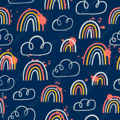Poster Artificiel Rainbows and clouds seamless pattern