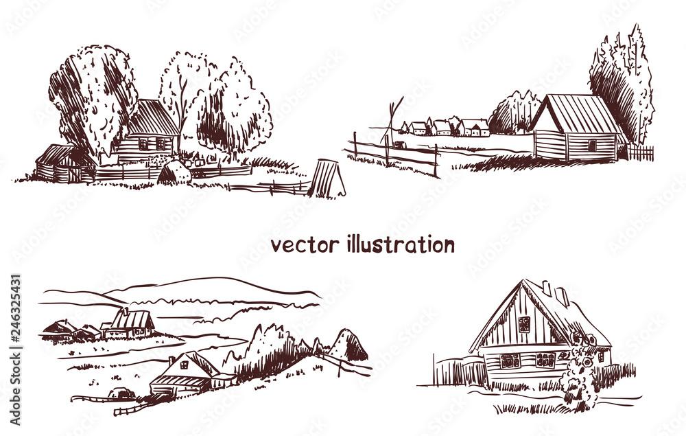 Fototapeta handwritten sketch of rural house