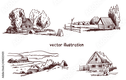Fototapeta handwritten sketch of rural house obraz