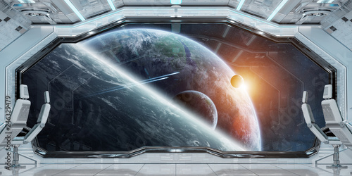 Fototapety, obrazy: White clean spaceship interior with view on planet Earth 3D rendering