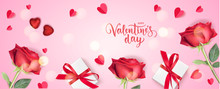 Valentine's Day Design Template. Holiday Background With Decorative Red Roses, Gift Boxes And Paper Heart On Pink Background. Vector Illustration