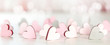 canvas print picture - Backround or banner for valentines day, mothers day with hearts and bokeh in light pink