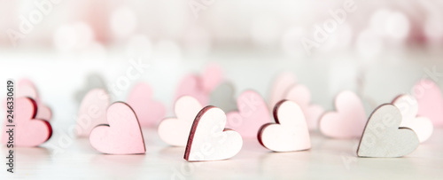 Obraz Backround or banner for valentines day, mothers day with hearts and bokeh in light pink - fototapety do salonu