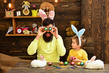 Happy Easter Rabbit's Family With Bunny Ears.