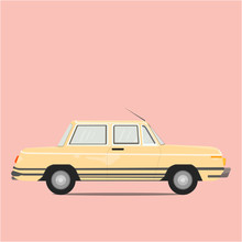 Retro Of Pastel Yellow Vintage Garage Car 70-80s On Pink Color Background,Copy Space For Your Text. Flat Design Vector Illustration