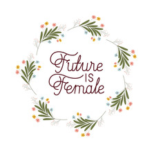 Future Is Female Label With Flowers Frame Icons