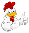 A chicken cartoon rooster cockerel character mascot giving a thumbs up.