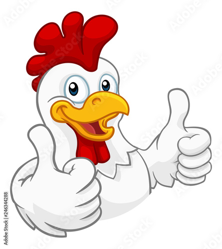 Fotografija A chicken cartoon rooster cockerel character mascot giving a thumbs up