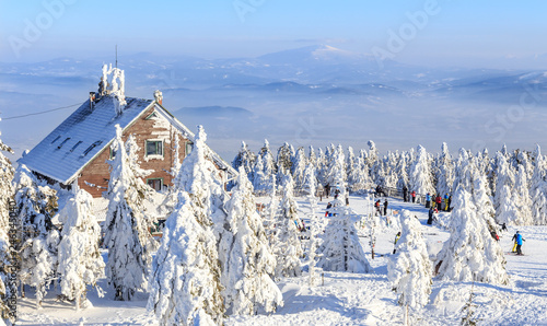 Szczyrk, Poland. Winter view of Skrzyczne peak in  Beskid Mountains
