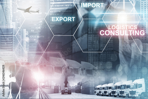 Multiple exposures of business shipping, logistics, industry background overall Canvas Print
