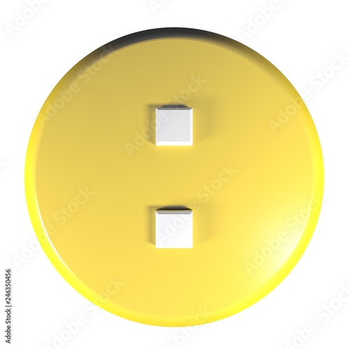Photo  Yellow circle push button with the sign : for the division operation - 3D render
