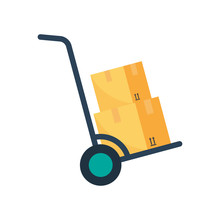 Hand Truck With Cardboard Boxes Flat Colored Icon