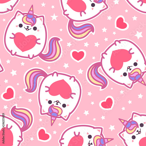 fototapeta na szkło Seamless pattern. Cute, cat unicorn with a heart on a pink background. For the design of fabrics, wrapping paper, wallpaper and so on. Vector