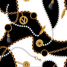 Seamless Pattern With Chains, Coins, Feather And Jewelry. Vector.