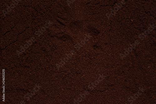 brown dark texture of ground coffee close-up background for design - 246353215
