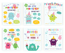 Set Of Cute Monster Happy Birthday Party Invitation Card Design. Vector