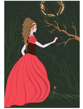 Forest Princess Greeting Cat Vector Illustration