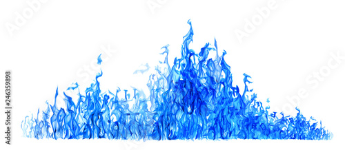 Fotobehang Vuur long blue flame isolated on white