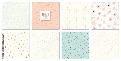 Creative seamless patterns and prints set.