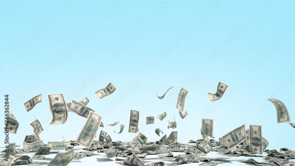 Fototapety, obrazy: hundred dollar banknotes fall on graund on blue background