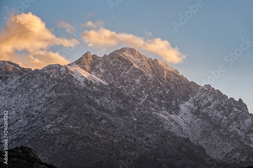 Fotografija  Snow capped peak of Monte Grosso mountain in Corsica