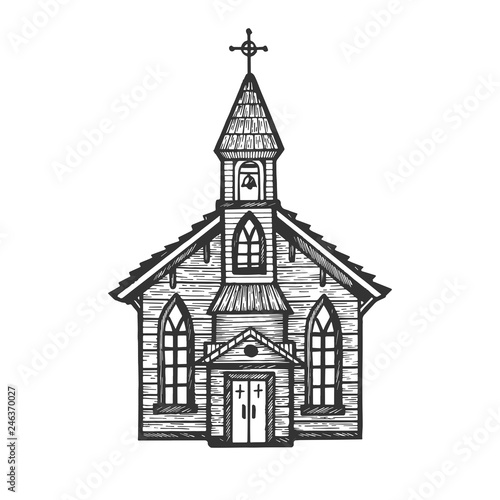 Canvastavla Old wooden church chapel engraving vector illustration