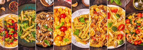 Collage of various pasta dishes.