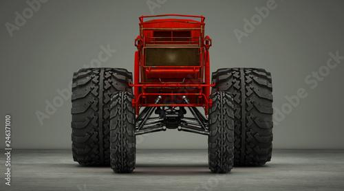 Cuadros en Lienzo Vecchia carrozza rossa steampunk senza cavalli, con ruote giganti da fuoristrada