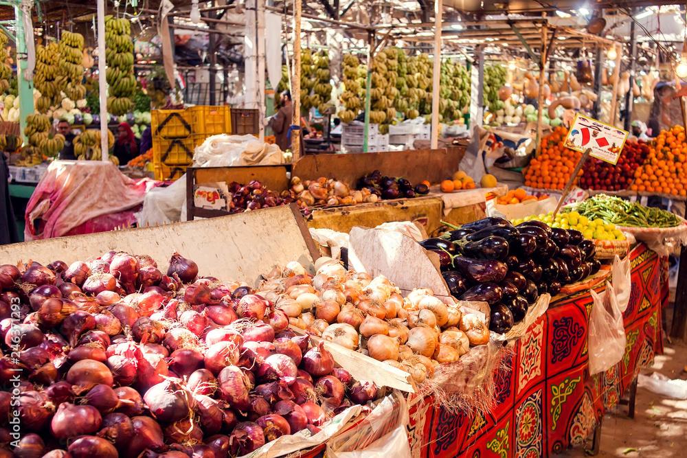 Fototapeta Hurghada, Egypt, vegetable market 08.12.2018.