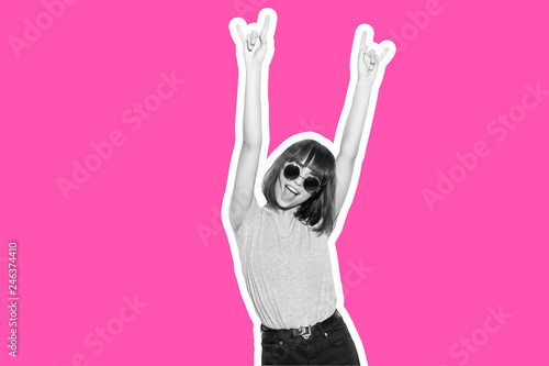 Stickers pour portes Magasin de musique Collage in magazine style with colorful emotional fashion crazy girl in sunglasses scream with rock sign on pink background