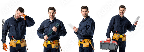 Fototapeta collage of handsome plumber in blue uniform wiping forehead, holding notebook an