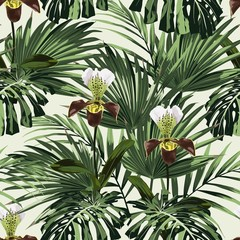 Fototapeta Egzotyczne Summer Hawaiian seamless pattern with many types of palm leaves and exotic orchid flowers. Botanical wallpaper, Hawaiian style. Light backdrop.
