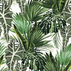 Fototapeta Współczesny Beautiful seamless floral pattern background with tropical bright palm leaves and exotic plants. Perfect for wallpapers, web page backgrounds, surface textures, textile. White background.