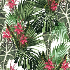 Fototapeta Egzotyczne Seamless pattern with tropical leaves and paradise red protea flowers. Bright green palm monstera leaves on the white background. Tropical illustration. Jungle foliage.