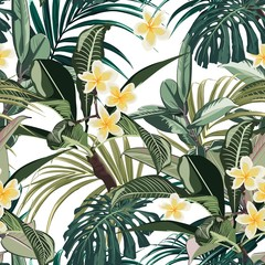 Fototapeta Liście Seamless pattern with tropical leaves and paradise plumeria flowers. Dark and bright green palm monstera leaves on the white background. Tropical illustration. Jungle foliage.