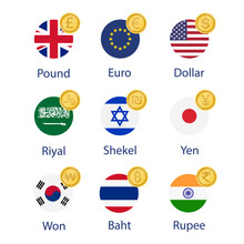 World Currency Flags And Symbol Coins Set, Collection