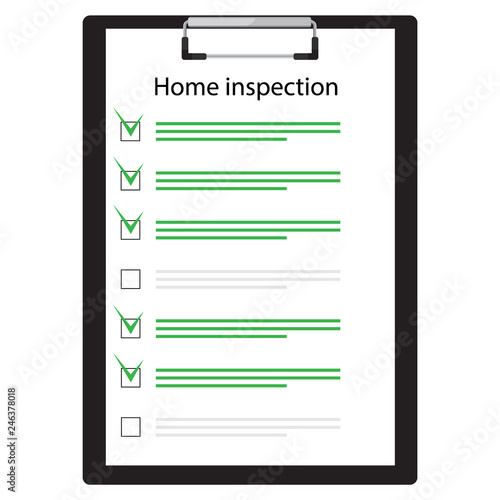 Fototapeta Home inspection checklist paper on clipboard