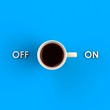 Top view of a cup of coffee isolated on blue background, Coffee concept illustration, 3d rendering